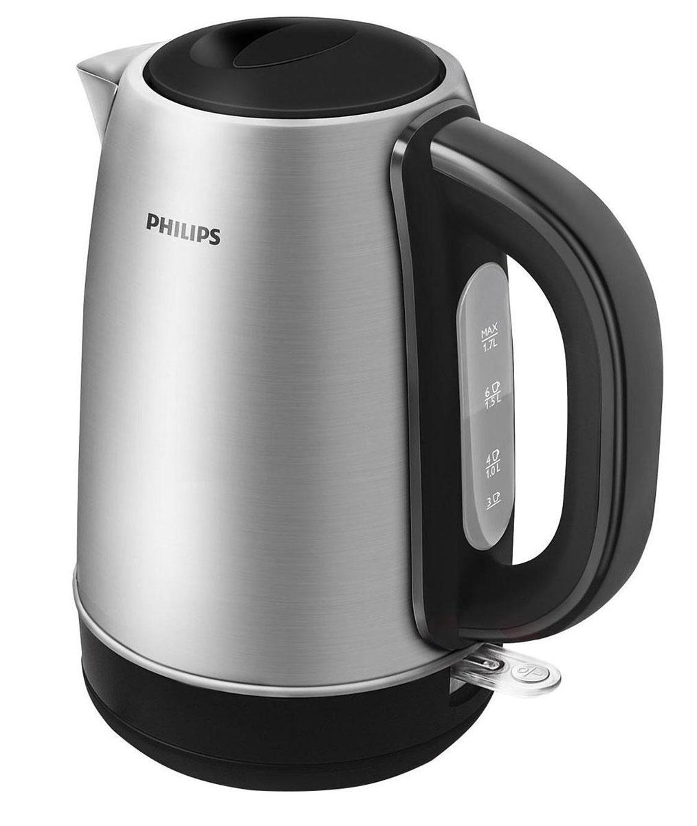 Philips HD9320/21 электрочайникHD9320/21Для прочного металлического электрического чайника Philips HD9320 предусмотрен плоский и удобный в очистке нагревательный элемент, который позволяет вскипятить воду за считаные секунды. Прочный чайник с полированным корпусом из нержавеющей сталиПрочный металлический чайник с корпусом из полированной нержавеющей стали отличается долгим сроком службы. Когда чайник включен, загорается подсветкаЭлегантная подсветка кнопки включения/выключения уведомляет о процессе нагрева воды. Фильтр от накипи обеспечивает чистоту воды и чайника Катушка для удобного хранения шнураШнур оборачивается вокруг основания, что позволяет легко разместить чайник на кухне. Беспроводная подставка с поворотом на 360° для удобства использования. Понятный индикатор уровня водыУдобное наполнение через носик/крышкуНаполнить чайник можно через носик или открыв крышку. Крышка открывается вручную, обеспечивая удобство наполнения и очистки. Плоский нагревательный элемент для быстрого кипячения воды и легкой чисткиВстроенный нагревательный элемент из нержавеющей стали обеспечивает быстрое кипячение и простую чистку. Комплексная система безопасностиКомплексная система безопасности для предотвращения короткого замыкания и выкипания воды. Функция автовыключения активируется, когда процесс завершается или прибор снимается с основания.