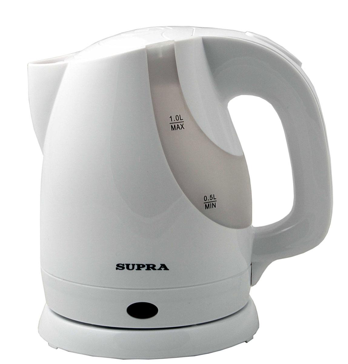 Supra KES-1021 электрочайникKES-1021Электрический чайник Supra KES-1021 - это стильная модель объёмом 1 литр. Лёгкий и компактный, он не займёт много места в дорожной сумке или чемодане, и у вас под рукой всегда будет кипяток. Прочный пластик, из которого изготовлен прибор, выдержит случайные удары и падения. С помощью большой мощности 1300 Вт чайник вскипятит воду в течение 3-х минут.Тонкая металлическая пластина из нержавеющей стали скрывает нагревательный элемент электроприбора и защищает его от наседания накипи, а также даёт возможность вскипятить небольшое количество воды. Фильтр, расположенный в носике чайника, предотвратит попадание накипи в чашку и не испортит вкус кофе или чая. Угол поворота прибора на подставке составляет 360 градусов, что предоставляет дополнительное удобство. Удобная форма носика позволяет наполнить чашку кипятком, не пролив ни одной капли.Наличие двухстороннего индикатора уровня в чайнике Supra KES1021 поможет визуально определить количество налитой воды в чайнике, не открывая крышку. При необходимости шнур можно убрать в специальный отсек, расположенный в подставке.