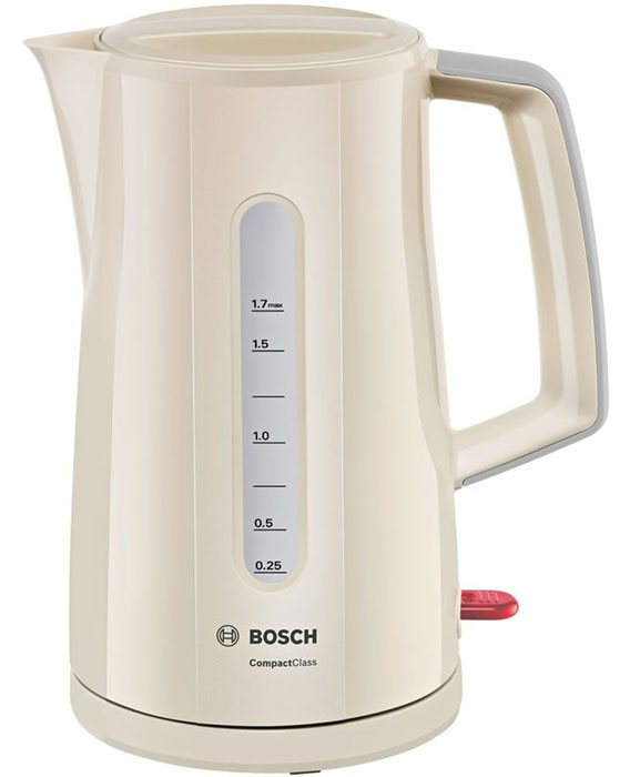 Bosch TWK3A017 электрочайникTWK3A017Электрочайник Bosch TWK3A014 - это надежный и элегантный прибор, который в кратчайшие сроки обеспечит вас кипятком. При повторном кипячении вода теряет свои природные свойства, но вам этого делать не придется. Данная модель отличается способностью вскипятить воду строго на одну чашку - 0.25 мл. Максимально допустимый объем - 1.7 л, так что за раз можно обеспечить горячими напитками большую компанию. Корпус выполнен из качественного термостойкого пластика - ни малейшего запаха при нагреве.О качестве кипяченой воды позаботится встроенный фильтр, надежно удерживающий частички накипи внутри. Нагревательный элемент чайника Bosch TWK3A014 расположен под плоским диском из нержавеющей стали, что значительно облегчает уход за моделью. Автоматическое отключение делает использование прибора абсолютно безопасным. Яркий глянцевый корпус сделает прибор настоящим украшением кухни. Возможность вращения на подставке и двусторонний индикатор уровня придают дополнительный комфорт при использовании чайника.