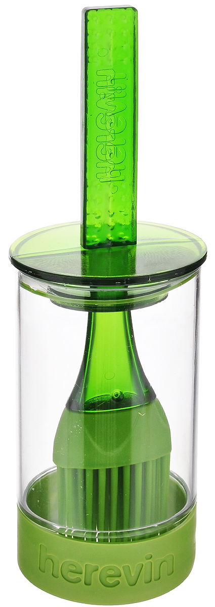 """Емкость для соуса """"Herevin"""" выполнена из прочного пластика. В нижней части емкости имеется вставка из приятного на ощупь силикона, который не позволит ей выскользнуть из ваших рук. Емкость плотно закрывается пластиковой крышкой с уплотнителем и встроенной силиконовой кисточкой. Кисточка хорошо распределяет соус, маринад или другую смазку. Такое удобное приспособление поможет вам смазать соусом готовое блюдо и не разбрызгать его. Налейте соус в емкость, опустите туда кисточку и, уже поднеся к пирогу или мясу, смазывайте. Также емкость прекрасно подходит для приготовления и хранения соуса, маринада.Диаметр емкости: 6 см.Высота емкости (без учета крышки): 11 см.Длина кисточки: 20 см."""
