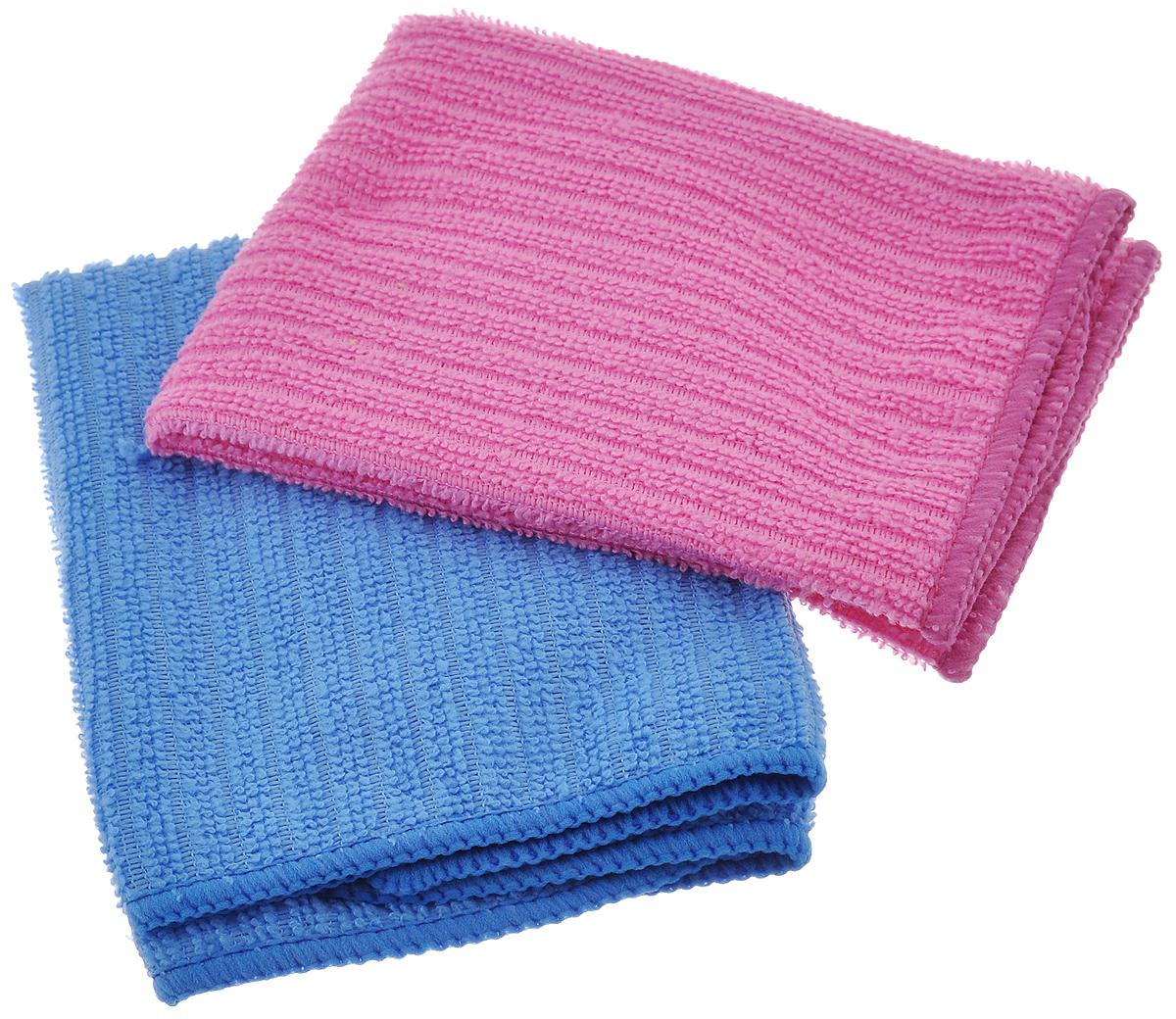 Салфетка из микрофибры Home Queen, цвет: синий, розовый, 30 х 30 см, 2 шт57048_синий. РозовыйСалфетка Home Queen изготовлена из микрофибры. Это великолепная гипоаллергенная ткань, изготовленная из тончайших полимерных микроволокон. Салфетка из микрофибры может поглощать количество пыли и влаги, в 7 раз превышающее ее собственный вес. Многочисленные поры между микроволокнами, благодаря капиллярному эффекту, мгновенно впитывают воду, подобно губке. Благодаря мелким порам микроволокна, любые капельки, остающиеся на чистящей поверхности, очень быстро испаряются, и остается чистая дорожка без полос и разводов. В сухом виде при вытирании поверхности волокна микрофибры электризуются и притягивают к себе микробов, мельчайшие частицы пыли и грязи, удерживая их в своих микропорах.