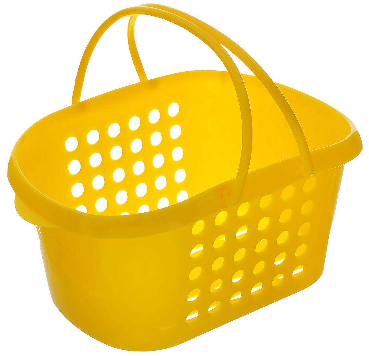 Корзинка универсальная Econova, с ручками, цвет: желтый, 23 см х 17,3 см х 11,5 смС12246_желтыйУниверсальная корзинка Econova изготовлена из высококачественного пластика и предназначена для хранения и транспортировки вещей. Корзинка подойдет как для пищевых продуктов, так и для ванных принадлежностей и различных мелочей. Изделие оснащено двумя ручками для более удобной транспортировки. Стенки корзинки оформлены перфорацией, что обеспечивает естественную вентиляцию. Универсальная корзинка Econova позволит вам хранить вещи компактно и с удобством.
