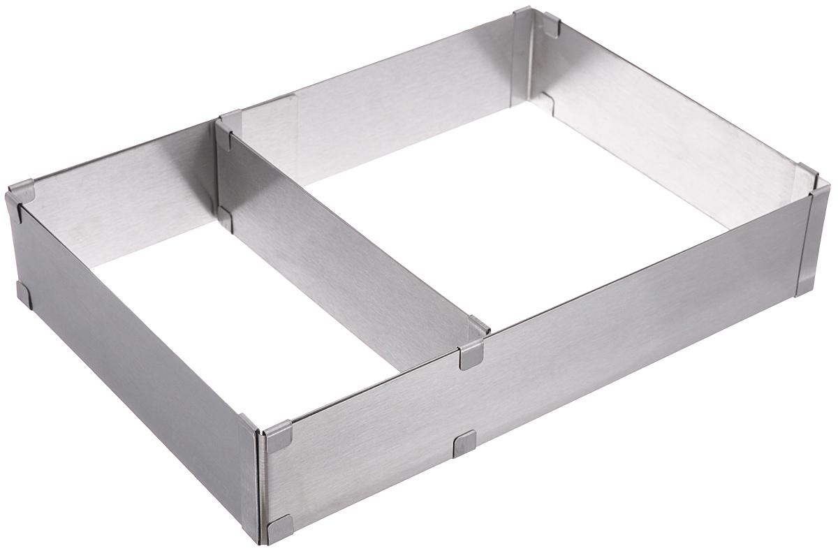 Форма для торта Tescoma Delicia, регулируемая, прямоугольная, 28 х 20 см - 50 х 34 см623382Регулируемая форма Tescoma Delicia предназначена для приготовления прямоугольных тортов. Выполнена из высококачественной нержавеющей стали. Форма имеет перегородку, которая позволяет готовить два разных торта одновременно. Форма очень просто регулируется: просто растяните ее до нужного размера и вставьте перегородку в металлические кольца рукава, используйте более густое тесто. Подходит для электрических, газовых духовок, и духовок с горячим обдувом. Можно мыть в посудомоечной машине. Минимальный размер формы: 28 см х 20 см. Максимальный размер формы: 50 см х 34 см. Высота стенки: 5 см.