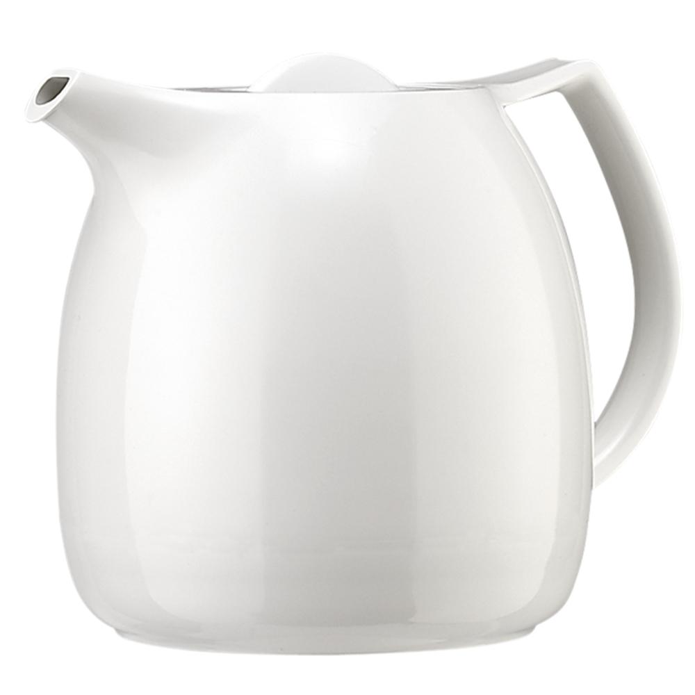 Термос-чайник Emsa Ellipse, с ситечком, цвет: белый, 600 мл503696Удобный термос-чайник Emsa Ellipse прекрасно подходит для заваривания чая и различных травяных настоев. Корпус изделия выполнен из высококачественного белого пластика под фарфор, а внутренняя колба - из стекла. Изделие оснащено удобным носиком, который поможет аккуратно разлить содержимое по стаканам, а также ручкой эргономичной формы. Термочайник позволит легко и быстро заварить насыщенный и ароматный чай, а ситечко для заварки не даст попасть в напиток листочкам и кусочкам фруктов. Поворотная крышка быстро, легко и герметично закрывается, сохраняя температуру напитку. Диаметр (по верхнему краю): 8,5 см.Диаметр горлышка: 7 см. Диаметр дна: 11,5 см.Высота ситечка: 8,5 см. Высота термоса: 16 см.