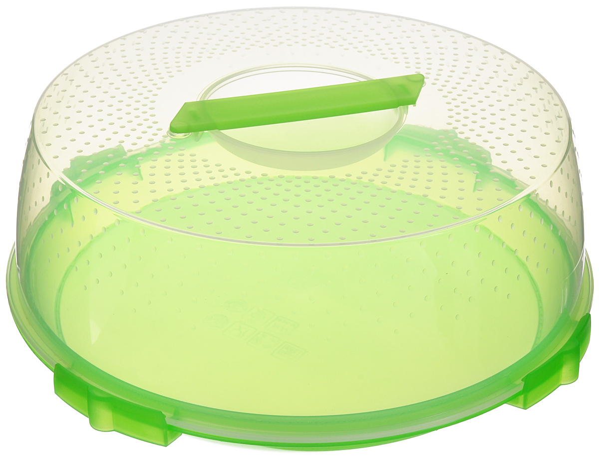 Тортница Cosmoplast Оазис, цвет: салатовый, прозрачный, диаметр 32 см2123_салатовыйТортница Cosmoplast Оазис изготовлена из высококачественного прочного пищевого пластика. Тортница имеет удобную ручку для переноски и прочные фиксаторы крышки. Может использоваться в микроволновой печи и морозильной камере (выдерживает температуру от -30°С до +115°С). Очень гигиенична и легко моется.Можно мыть в посудомоечной машине.Диаметр тортницы: 32 см.Внутренний диаметр тортницы: 28 см.Высота тортницы: 13 см.