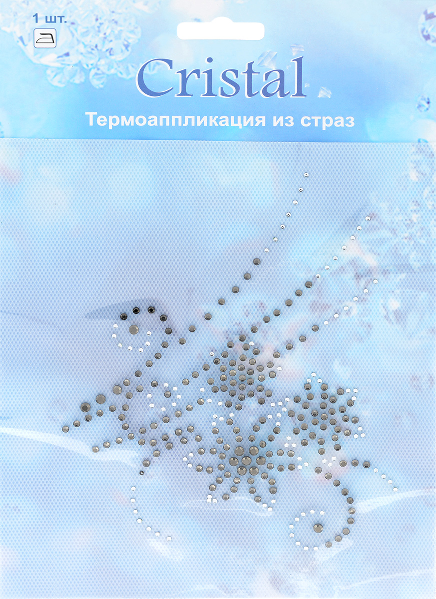Термоаппликация из страз Cristal, цвет: черный, белый, 15 см х 12,3 см бокалы cristal d arques