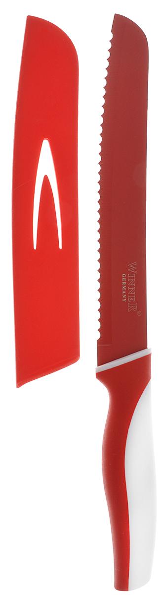 Нож для резки хлеба Winner, цвет: красный, белый, длина лезвия 20 см. WR-7215WR-7215_красный, белыйНож для резки хлеба Winner выполнен из высококачественной нержавеющей стали с цветным полимерным покрытием Xynflon, предотвращающим прилипание продуктов. Очень удобная и эргономичная ручка выполнена из прорезиненного пластика с антибактериальным покрытием Zeomic.Нож с зубчатой кромкой лезвия применяется для нарезки как свежих, так и черствых хлебобулочных изделий. При резке таким ножом мякиш изделия не нарушается. Нож применяется для резки рогаликов, булочек, бубликов и рулетов. Нож помогает поддерживать идеальную гигиену на кухне. Zeomic обеспечивает постоянную противомикробную защиту, позволят сохранить нож в чистоте в течение длительного периода времени после мытья, подавляет бактерии, которые способствуют появлению загрязнения и неприятного запаха, гнили и плесени в течение всего времени использования изделия. Нож для резки хлеба Winner предоставит вам все необходимые возможности в успешном приготовлении пищи и порадует вас своими результатами.К ножу прилагаются пластиковые ножны.Общая длина ножа: 32,4 см.