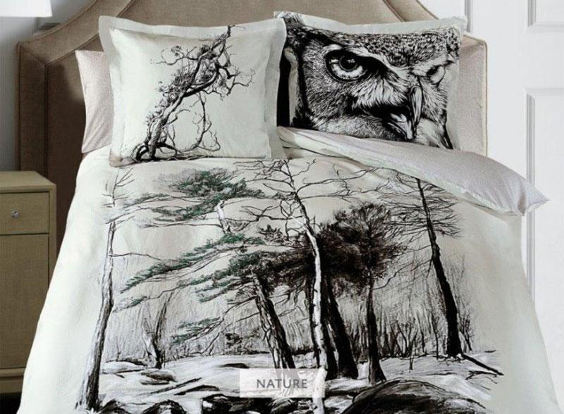 Комплект белья Mona Liza Nature, 2-спальный, наволочки 50х70, 70х70, цвет: серый, бежевый, темно-коричневый подушка mona liza цвет белый 50 х 70 см 539414