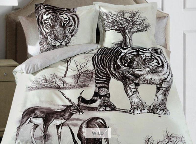 Комплект белья Mona Liza Wild, евро, наволочки 50х70, 70х70, цвет: серый, бежевый, темно-коричневый подушка mona liza цвет белый 50 х 70 см 539414