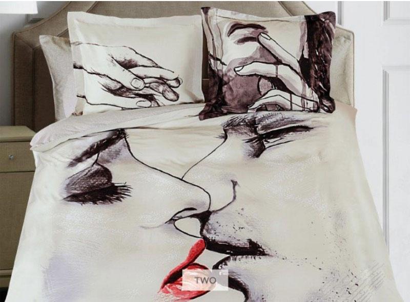 Комплект белья Mona Liza Two, евро, наволочки 50х70, 70х70, цвет: серый, бежевый, темно-коричневый подушка mona liza цвет белый 50 х 70 см 539414