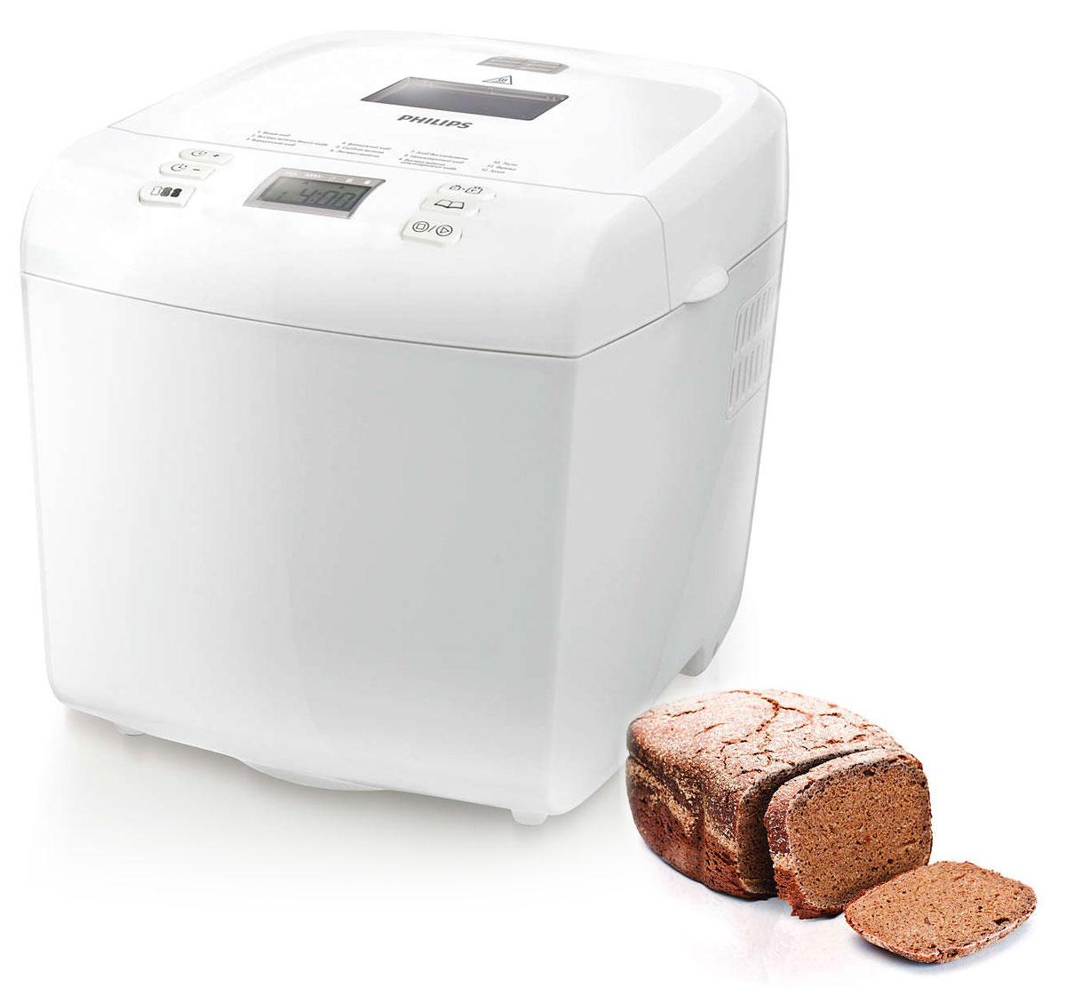 Philips HD9015/30, White хлебопечьHD9015/30Вы полюбите этот незабываемый запах свежего теплого хлеба по утрам! Все так просто... вечером добавьте ингредиенты, установите таймер отсрочки старта на утро, и хлебопечь Philips HD9015/30 сделает все сама.Благодаря усовершенствованной системе контроля температуры хлебопечь Philips HD9015/30 позволяет испечь хлеб на любой вкус — просто нажмите нужную кнопку на панели управления, и вы получите выпечку со светлой, золотистой или темной корочкой. Наслаждайтесь незабываемым вкусом и неповторимым запахом свежего теплого хлеба по утрам — отличное начало дня! Просто установите перед сном таймер отсрочки старта на нужное время, и, пока вы спите, хлебопечь испечет превосходный свежий хлеб к вашему завтраку.Во время замешивания теста хлебопечь издает звуковой сигнал, сообщающий о том, что можно добавить дополнительные ингредиенты. Хлебопечь отличается продуманным дизайном и работает тихо (65 дБа). Компактная форма позволяет разместить ее на любой современной кухне.Хлебопечь Philips HD9015/30 оснащена 12 простыми программами для выпечки любой сложности — от полезного цельнозернового до французского хлеба, хлеба без глютена и сладкой выпечки. В ней также можно приготовить прекрасное пресное тесто или даже варенье. С хлебопечью Philips выпечка всегда вкусна и проста в приготовлении. С помощью программ можно установить оптимальную температуру и время приготовления для различных видов выпечки. Если у вас мало времени, можно воспользоваться программой быстрого выпекания или даже экспресс-выпекания, при которой выпечка будет готова через один час. Съемная крышка служит для легкой очистки устройства.Нескользящие ножкиВключение одним нажатиемВремя сохранения хлеба теплым: 1 часКоличество часов таймера задержки: 13Термоизолированный корпусСигнал добавления ингредиентовРазмер выпечки: 750 г, 1 кгСтепени подрумянивания: 3