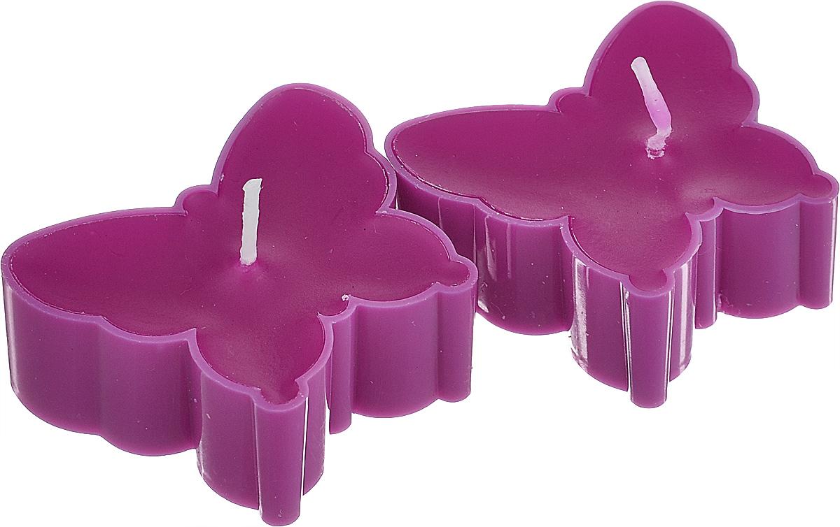 Набор декоративных свечей Lunten Ranta Бабочки, цвет: фиолетовый, 5 см х 4,5 см, 2 шт очки lunten ranta диадема 66151