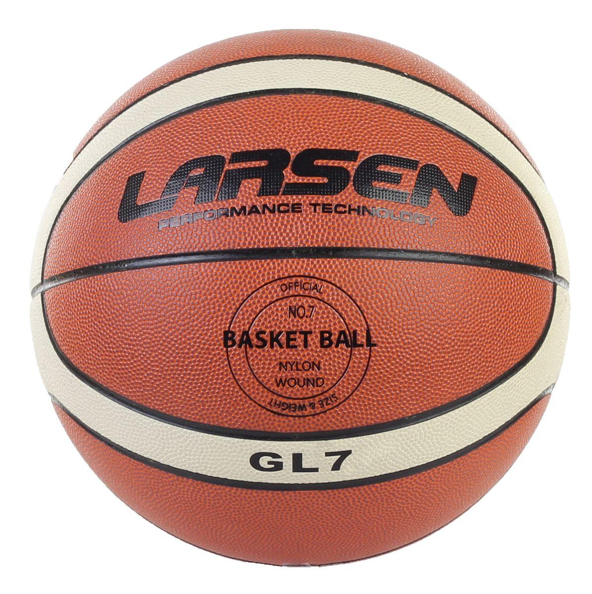 Мяч баскетбольный Larsen PVC-GL7. Размер 7PVC-GL7Благодаря покрышке, выполненной из поливинилхлорида, мяч очень прочен, надежен и долговечен, а также стоек к появлению грыж. Специальная конструкция с армированием нейлоновой нитью позволяет мячу Larsen PVC-GL7 долго не терять форму и оставаться идеально круглым. Бутиловая камера внутри отвечает за предсказуемый отскок и быстрое восстановление формы мяча. Вес: 600-650 г. Окружность: 75-78 см. Материал: ламинированный поливинилхлорид.