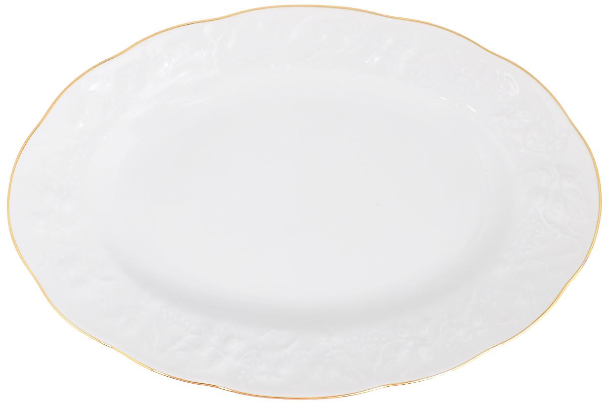 Блюдо La Rose Des Sables Vendanges, цвет: белый, золотистый, 35,5 см х 24 см6912361009Овальное блюдо La Rose Des Sables Vendanges, выполненное из высококачественного фарфора, декорировано рельефным изображением цветов. Блюдо сочетает в себе изысканный дизайн с максимальной функциональностью. Блюдо La Rose Des Sables Vendanges идеально подойдет для сервировки стола и станет отличным подарком к любому празднику.Размер блюда (по верхнему краю): 35,5 см х 24 смВысота блюда: 3,5 см.