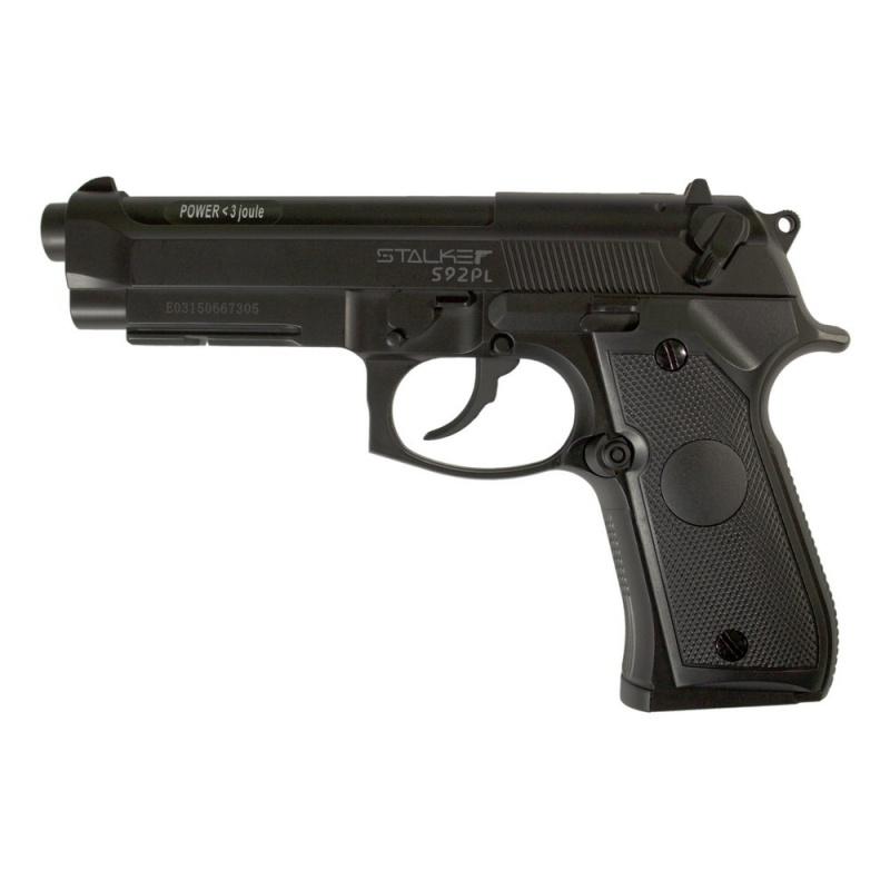 Пневматический пистолет Stalker S92PL. Боевой прототип - пистолет Beretta 92.   Пистолеты Stalker разрабатывались с учетом многолетнего опыта использования современных пневматических систем и изучения потребностей покупателей. Каждый пистолет имеет яркую запоминающуюся коробку с индивидуальным дизайном. Такая пневматика станет отличным подарком, не требующим дополнительной упаковки. Каждый пистолет имеет подробную инструкцию на русском языке, сопровождающуюся картинками в качестве примера. На обратной стороне коробки приведена подробнейшая информация по ТТХ конкретной модели.  Модель Stalker S92PL внешне является аналогом итальянского пистолета Вeretta 92. Корпус данного пистолета изготовлен из АБС-пластика, что дает отличные эксплуатационные характеристики изделию. Он устойчив к большинству негативных внешних воздействий, что способствует увеличению срока эксплуатации модели. Магазин данного пистолета выполнен из металла.  Характеристики пистолета: - материал: пластик, металл - принцип действия: газобаллонная пневматика, без системы BlowBack - баллон: СО2, 12 гр (покупается отдельно). - калибр: 4,5 мм - тип снаряда: шарики, 4,5 мм - емкость магазина: 20 шариков - дульная энергия: до 3 Дж - скорость снаряда: до 120 м/с - система стрельбы: полуавтоматический - длина пистолета: 218 мм - опасная дистанция: до 205 м - вес пистолета: 420 гр (без баллона и шариков) - вес с упаковкой: 645 гр - размер упаковки (ДхШхВ): 23,5х15,5х4,5 см  Комплектация: - пистолет - магазин - 250 стальных шариков - инструкция  Предупреждение: Не игрушка! Внимание: Перед использованием прочитать все инструкции. Обращаться с изделием, так же как и с оружием. Всегда направлять в безопасную сторону как указано в инструкции. Храните инструкцию в безопасном месте для дальнейшего ее использования. Необходим надзор взрослых. Неправильное или небрежное использование может привести к серьезным травмам или смерти. Может быть опасным до 205 м. Данная пневматика разрешен к использованию лицами, достигшими 