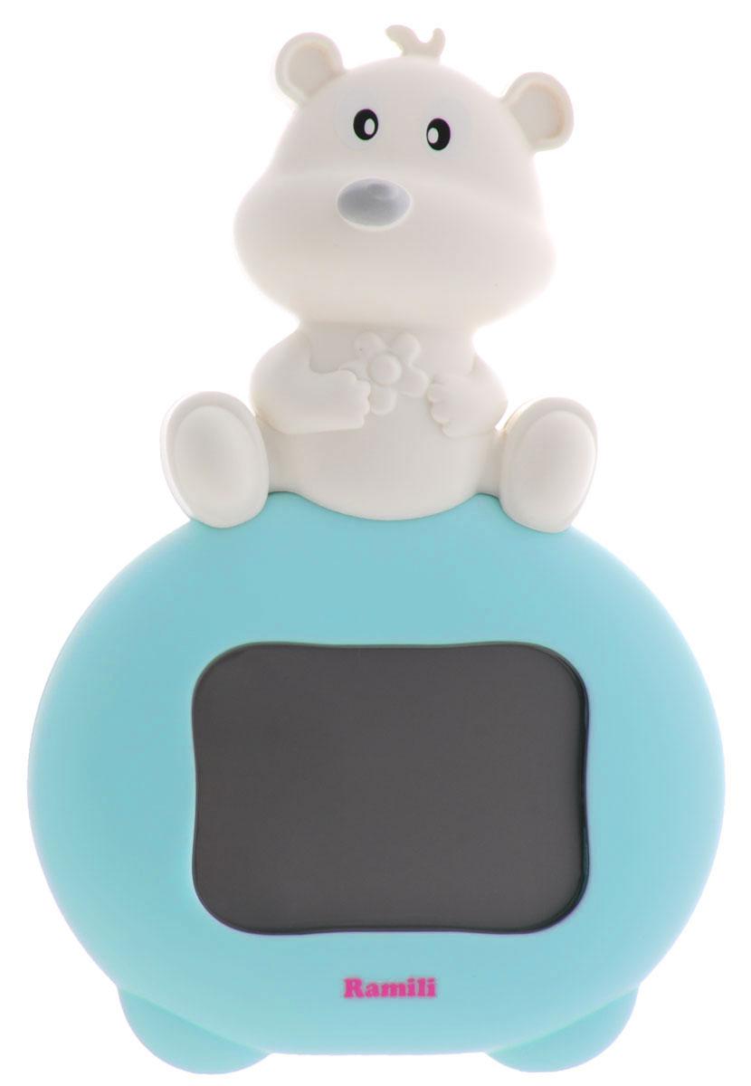 Ramili Термогигрометр для детской комнаты Baby ET1003ET1003Термогигрометр для детской комнаты Ramili Baby ET1003 предназначен для измерения температуры и относительной влажности воздуха в детской комнате. Данные отображаются на LCD-дисплее в виде цифровых значений в сопровождении забавной анимации.Особенности термогигрометра: На экране отображаются значения температуры и относительной влажности в детской комнате. 3 типа анимированных изображений на экране характеризуют уровень комфорта в помещении (с точки зрения температуры и относительной влажности воздуха): комфортно, допустимо, не комфортно. Устанавливается на горизонтальной поверхности или крепится на стене. Привлекательный для ребенка дизайн - мишка.Диапазоны температуры и влажности: Температура. Комфортно: 18°C - 26°C. Жарко: 26°C или выше. Холодно: 18°C или ниже. Влажность. Комфортно: 40% - 60%. Высокая влажность: 60% или выше. Низкая влажность: 40% или ниже.Анимационное представление диапазонов температуры и влажности: Улыбка на экране: температура и относительная влажность воздуха находятся в комфортном диапазоне. Нет эмоций на экране: температура в диапазоне от 10°C до 17.9°C или от 26.1°C до 30°C. Относительная влажность воздуха от 30% до 39% или от 61% до 70%.Плач на экране. Температура ниже 10°C или выше 30°C. Влажность воздуха ниже 30% или выше 70%. На заметку. Комфортной и безопасной является температура воздуха в диапазоне 16-20°C. Идеальной для сна ребенка до 1 года считается температура 18°C.Спецификация: Диапазон измеряемой температуры: 0°C - 50°CДиапазон измеряемой влажности: 10% - 90% Для работы термогигрометра необходима 1 батарейка типа ААА (не входит в комплект).