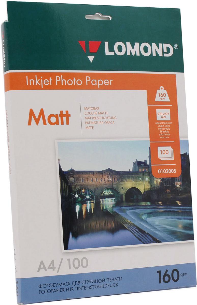 Lomond 160/A4/100л, бумага матовая односторонняя, 0102005