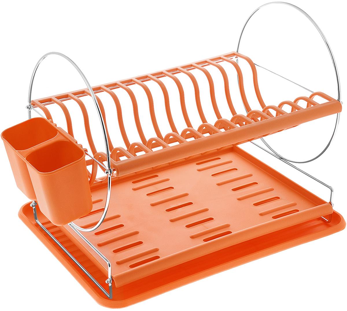 Сушилка для посуды Mayer & Boch, цвет: оранжевый, 43 х 33 х 32,5 см23237_оранжевыйСушилка для посуды Mayer & Boch отлично подходит для хранения кухонных принадлежностей и столовых приборов. Сушилка содержит подставку для тарелок, двойную подставку для столовых приборов и место для кружек и мисок. Изделие выполнено из высококачественного полипропилена и хромированного металла. Поддон для воды поможет сохранить кухню в чистоте. Элегантный, цветной дизайн прекрасно сочетается с интерьером любой кухни.