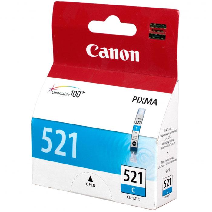 Canon CLI-521C, Cyan картридж для струйных МФУ/принтеров2934B004Картридж с цветными чернилами Canon CLI-521 для струйных принтеров и МФУ Canon.