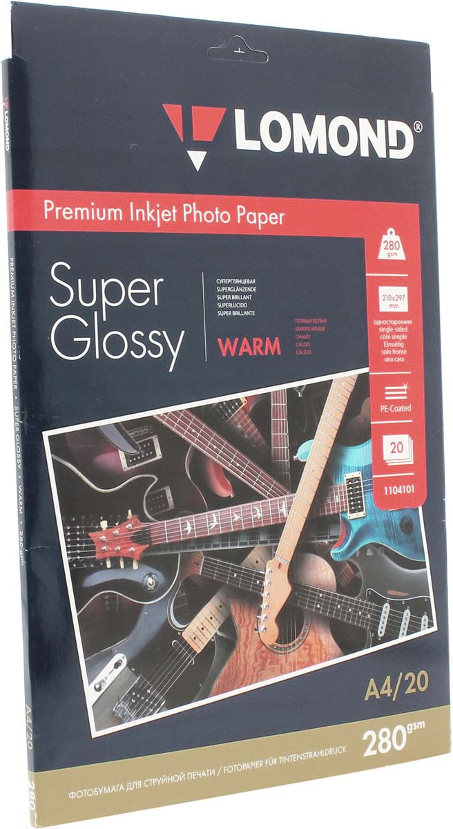 Lomond Super Glossy Warm 280/A4/20л суперглянцевая тепло-белая1104101Суперглянцевая микропористая фотобумага Lomond для струйной печати.Микропористое покрытие обеспечивает столь же высокое качество печати, как и традиционная фотография. Себестоимость отпечатков на бумаге Lomond Premium Photo c использованием картриджей Lomond - ниже, чем стоимость отпечатков, получаемых по традиционной технологии с использованием химических реактивов. Благодаря полиэстеровому покрытию бумажной основы бумага Lomond Premium Photo совершенно не подвержена короблению после прохода через принтер даже при самой интенсивной заливке чернилами.Модификация Super Glossy по фактуре поверхности наиболее близка к традиционной химической фотобумаге. Отпечатки отличаются высоким глянцем.