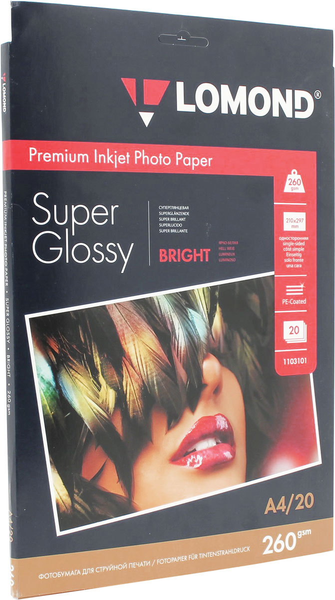 Lomond Super Glossy Bright 260/A4/20л суперглянцевая ярко-белая бумага lomond a4 270г кв м super glossy [1106100] 20л