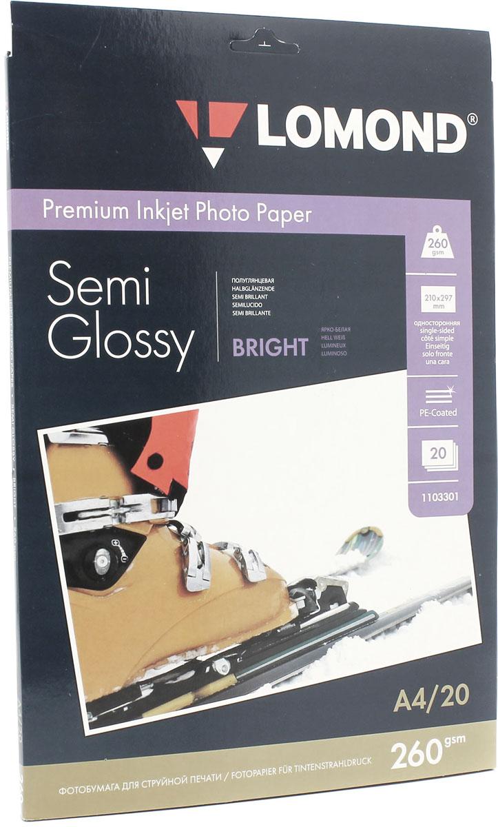 Lomond Semi Glossy Bright 260/A4/20л полуглянцевая ярко-белая