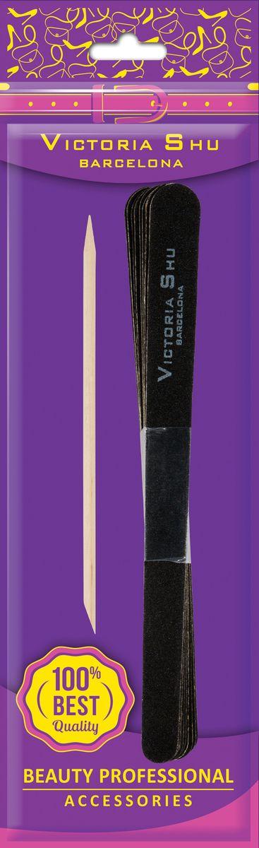Victoria Shu Пилочка для ногтей 10шт и палочка для кутикулы F305, 30 г1070V15660Двусторонние среднезернистые и мелкозернистые пилки на деревянной основе с двумя рабочими поверхностями, подходят для натуральных ногтей. Пилки отличаются особой легкостью. В комплекте палочка для кутикулы.Как ухаживать за ногтями: советы эксперта. Статья OZON Гид