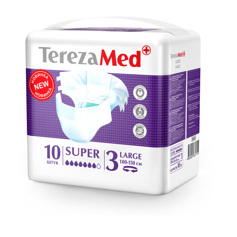 Tereza Med Подгузники для взрослых Super Large (№3) уп.1016828Подгузники TerezaMed Super Large предназначены для больных с серьезной формой недержания. Подгузник выполнен из мягкого дышашего материала, который пропускает пары влаги. Это позволяет коже пациента под подгузником дышать, а так же снижает риск появления опрелостей. Ядро подгузника состоит из натурального материала - целлюлозы, в которую добавлен суперабсорбент, впитывающий жидкость в больших количествах и обладающий свойством подавлять развитие неприятного запаха. Зеленый распределительный слой эффективно впитывает жидкость и распределяет ее внутри подгузника, тем самым снижая риск появления протечек. Крепление подгузника обеспечивается надежными липучками типа замочек, что позволяет многократно их приклеивать и отклеивать. Боковые бортики вокруг ног сделаны из гидрофобного материала и надежно запирают жидкость внутри. Размер талии пациента: большой, 100-150см. Количество в упаковке: 10 штук. Впитываемость: 2900 мл ±5%