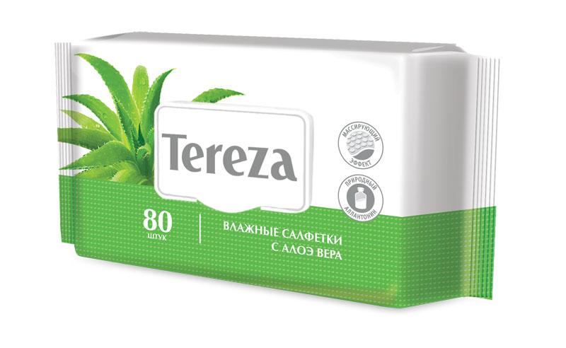 Tereza Влажные очищающие салфетки с Алоэ, 80 шт9212Влажные салфетки Tereza состоят из мягкого нетканого материала высокой плотности со специальной структурой соты, что позволяет обеспечить надежное очищение и деликатный массирующий эффект. В составе салфеток содержится экстракт алоэ и природный аллантоин, увлажняющие и смягчающие кожный покров, снижающие риск возникновения раздражения. Большой размер салфетки (с ладонь человека) подходит для ухода за лежачими больными и за детьми. Количество в упаковке: 80 штук. Наиболее подходящий для дома формат.