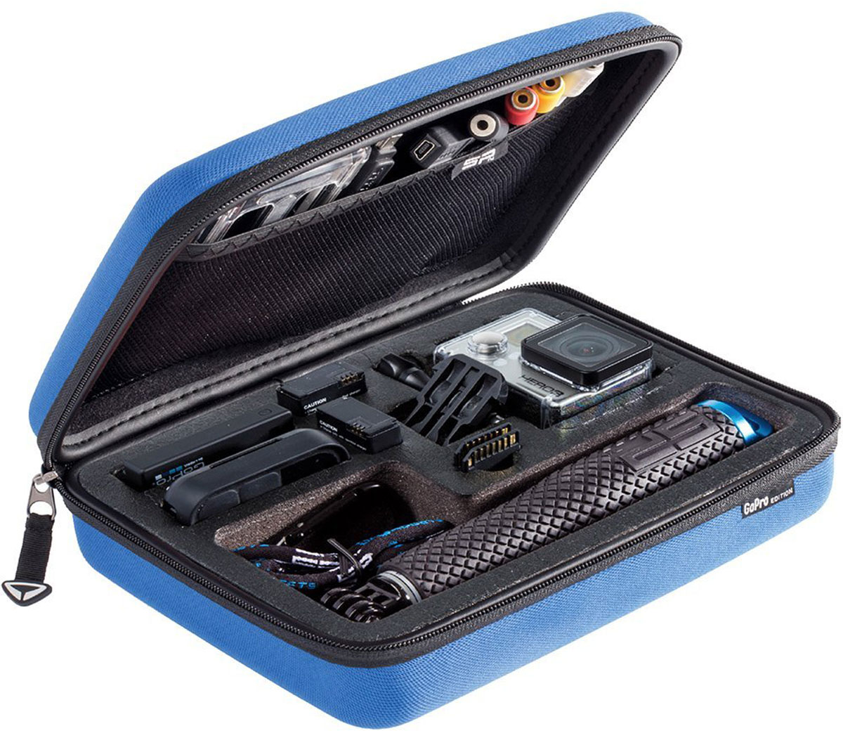 SP-Gadgets POV Case Large GoPro-Edition, Blue кейс для экшн-камеры52041Храните ваши любимые GoPro аксессуары и камеру GoPro в одном, надежном месте и будьте уверены, что в любой ситуации и во время любой съемки у вас будет под рукой все самое необходимое. Органайзер SP-Gadgets POV Case Large GoPro-Edition очень удобен и прост в эксплуатации. Благодаря внешнему покрытию, сделанного из прочной нейлоновой сетчатой ткани, кейс сохраняет чистоту не только внутри, но и на поверхности.Внутреннее покрытие из мягкого велюра обеспечит самый бережный уход вашей камере и различным аксессуарам. Удобный дополнительный держатель на замке позволит открыть кейс в одно мгновение.Органайзер отличается не только размерами, но и цветовой гаммой. Любой его обладатель сможет почеркнуть свою индивидуальность с различными вариантами дизайна: от классического черного до сочного желтого, от камуфляжных принтов до рисунка с черепами. Каждый кейс разработан для оптимального хранения определенного набора аксессуаров: чем он вместительнее, тем больше необходимых креплений вы сможете взять с собой для съемок.SP-Gadgets POV Case Large GoPro-Edition предназначен для 2-х камер GoPro в защитном бокcе, 2-х дополнительных аккумуляторов, 2-х LCD экранов/2-х дополнительных аккумуляторных батарей BacPac, SD карт памяти, Wi-Fi пульта д/у, набора креплений на присоске, крепления на штатив, зарядного устройства, дополнительных задних крышек для бокса, поплавка для камеры, кабелей и других аксессуаров.Внутренние ячейки - наполнитель PicknPluckПодкладка - велюр