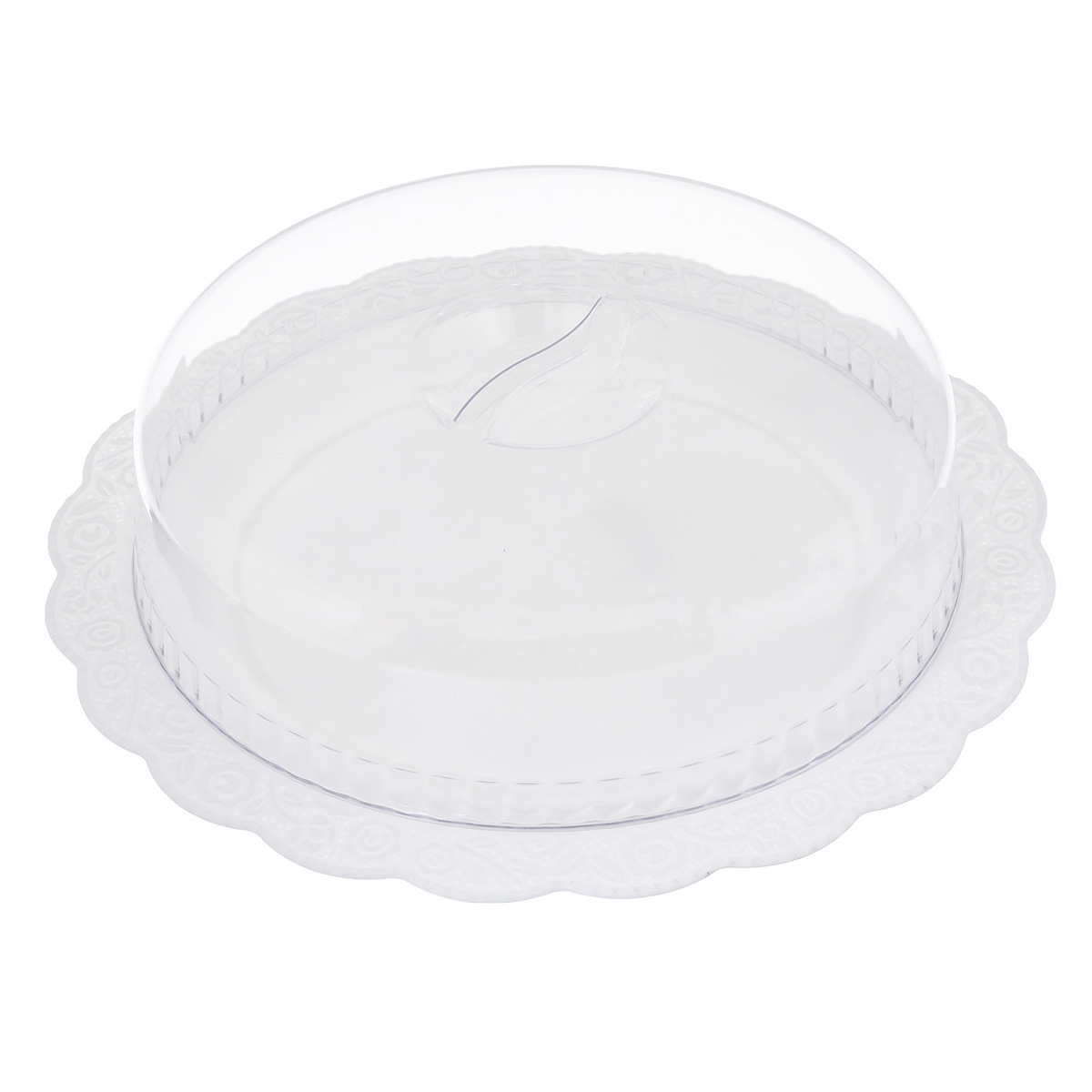 Блюдо Альтернатива Нежность, с крышкой, цвет: белый, прозрачный, диаметр 36,5 смM1206Круглое блюдо Альтернатива Нежность, выполненное из высококачественного пищевого пластика, оснащено прозрачной крышкой. Волнообразные края изделия оформлены красивым рельефным рисунком. Блюдо идеально для подачи торта и больших пирогов. Оригинальный дизайн придется по вкусу и ценителям классики, и тем, кто предпочитает утонченность и изысканность. Диаметр блюда: 36,5 см. Диаметр крышки: 28 см.Высота (с учетом крышки): 10 см.