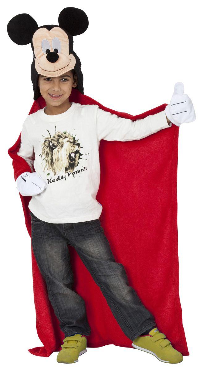Disney Плед с капюшоном Микки Маус 100 см х 100 см15484Детский плед с капюшоном - удивительная и многофункциональная вещь, от приобретения которой выиграют все. Родители - потому что получают для своих любимых чад тёплое и мягкое покрывало. Дети - потому что мягкий плед может использоваться как накидка или пончо, а это отличная возможность преобразиться из мальчика или девочки в любимого героя.Данная текстильная продукция занимает высокие позиции на потребительском рынке благодаря своим оригинальным дизайнам и безопасным материалам.