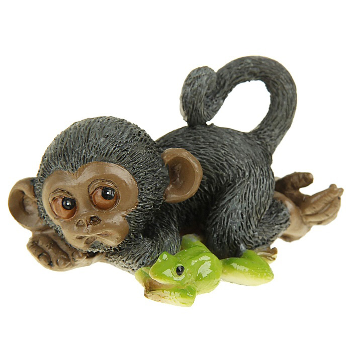 Сувенир-миниатюра Sima-land Обезьянка с лягушонком, 4,5 х 7 х 5 см сувенир sima land обезьянка в шарфике цвет желтый 7 х 5 7 х 8 5 см