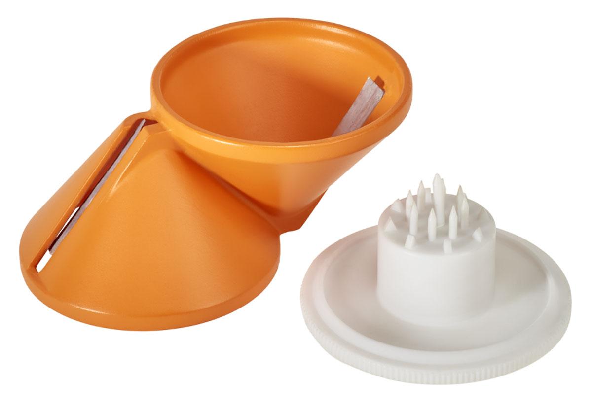 """Двух сторонний нарезатель овощей """"Metaltex"""" можете нарезать соломкой морковку, редис, огурец и все виды других твердых овощей. Подходит для изготовления розочек из однородных продуктов по принципу заточки карандаша. Также отлично подходит для гарниров, обшивки и украшения, предлагающий блюда. Изготовлен из высококачественного пластика и нержавеющей стали. Легко чистится под струей воды."""