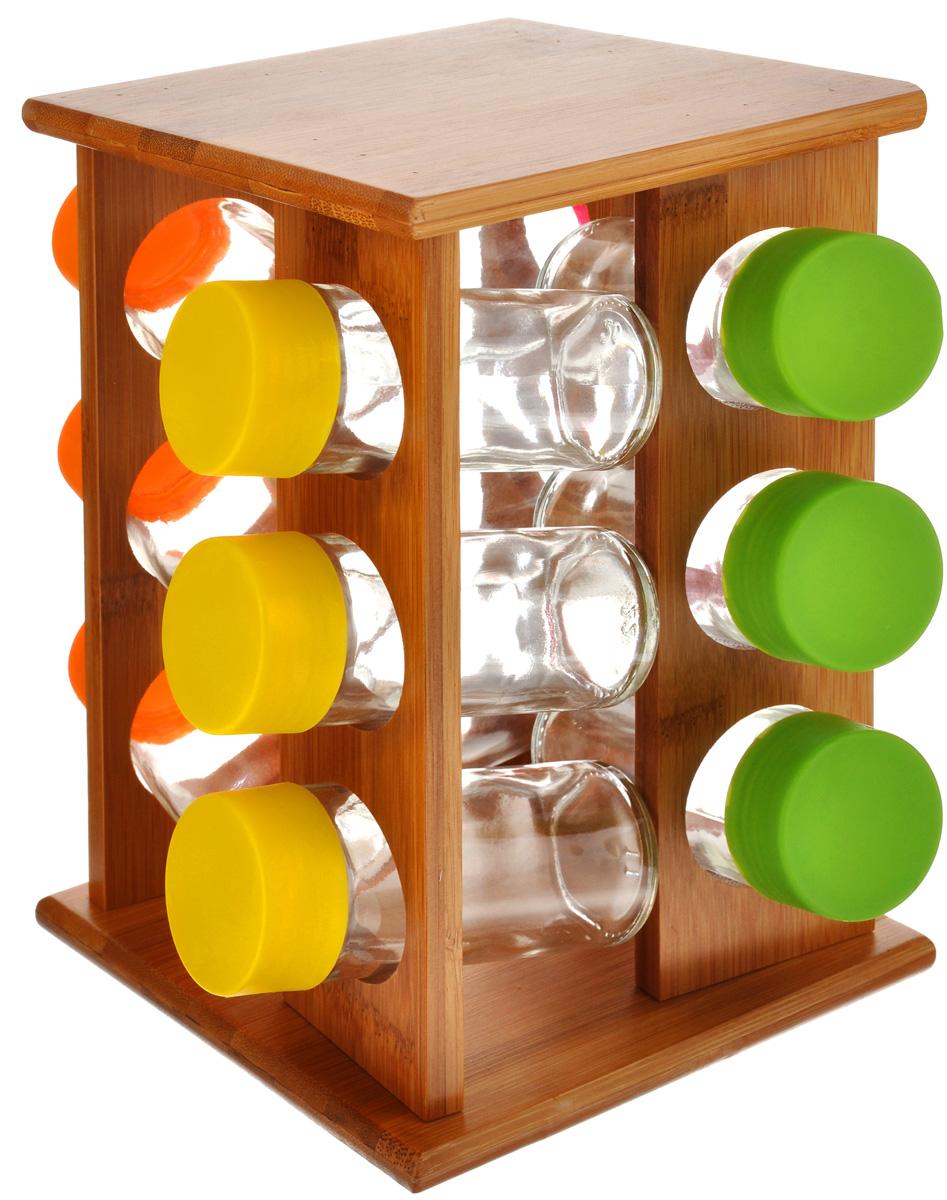 Набор для специй Mayer & Boch, 13 предметов. 2325823258Набор для специй Mayer & Boch включает 12 баночек для специй, расположенных на бамбуковой подставке, благодаря чему емкости не потеряются и всегда будут у вас под рукой. Емкости выполнены из высококачественного стекла и снабжены цветными пластиковыми крышками. Герметичное закрытие обеспечивает самое лучшее хранение. Баночки можно наполнять любыми используемыми вами специями. Специальная вращающаяся подставка делает хранение баночек очень удобным. Модный, элегантный и яркий дизайн набора украсит интерьер вашей кухни. Наслаждайтесь приготовлением пищи с вашим набором баночек для специй. Объем баночки: 100 мл. Размер баночки: 4 см х 4 см х 10 см. Размер подставки: 15 см х 15 см х 23 см.