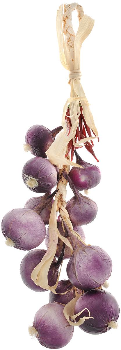 Муляж Лук с перцем в связке, цвет: фиолетовый, бордовый, 60 смRO60Муляж Лук с перцем в связке изготовлен из полиуретана, окрашен в естественные цвета. Предназначен для украшения интерьера дома.Длина связки: 60 см.