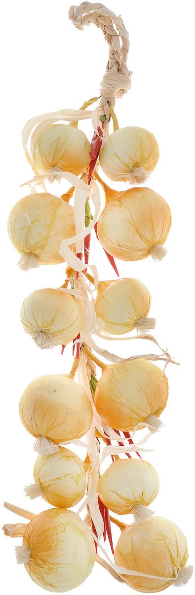 Муляж Лук с перцем в связке, цвет: желтый, бордовый, 60 смYO60Муляж Лук с перцем в связке изготовлен из полиуретана, окрашен в естественные цвета. Предназначен для украшения интерьера дома.Длина связки: 60 см.