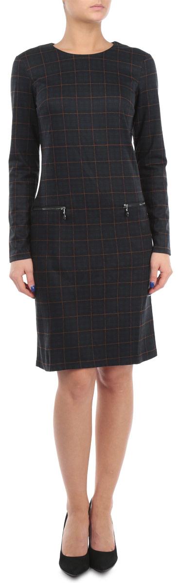 Платье Finn Flare, цвет: темно-зеленый, фиолетовый. W15-11030. Размер S (44) платье finn flare цвет серый синий черный w16 11030 101 размер l 48