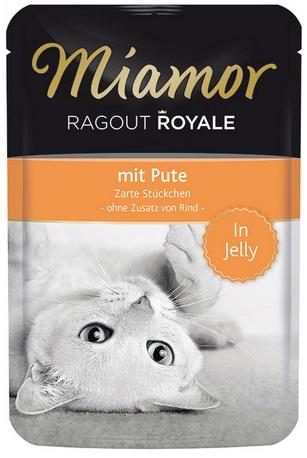 Консервы для кошек Miamor Королевское рагу, индейка в желе, 100 г74052Консервы Miamor Королевское рагу - это полноценный повседневный корм для кошек и котов, который очень легко усваивается. Не содержит сои, красителей и ароматизаторов, за то содержит множество полезных веществ, например магний, который необходим для здоровья кошек.Не содержит сои, красителей, ароматизаторов, костной муки, консервантов. Состав: мясо и мясопродукты, минералы.Товар сертифицирован.