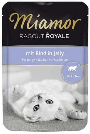 Консервы для котят Миамор Королевское Рагу, говядина в желе, 100 г74057Консервы для котят Миамор Королевское Рагу - это нежные кусочки, приготовленные в изысканном желе. Производятся по особой щадящей технологии для сохранения витаминов с высокой долей мяса домашних животных. Миамор - это полноценный повседневный корм для котят, который очень легко усваивается. Не содержит сои, красителей и ароматизаторов, за то содержит множество полезных веществ, например магний, который необходим для здоровья котят. Условия хранения: комнатная температура в закрытом виде, после вскрытия до 2 дней в холодильнике.Особенности: Натуральные компоненты; Без сои, красителей, ароматизаторов, костной муки; Без консервантов Состав: говядина; птица; витамины.