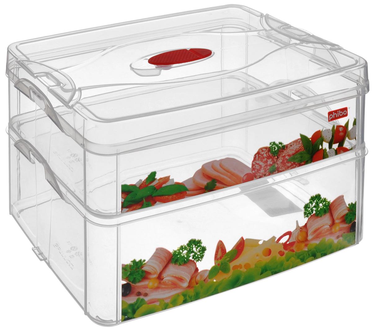 Контейнер для продуктов Phibo Smart System, 2 секции, с клапаном, 25 х 16 х 16,5 см С12865С12865_колбаса, сырКонтейнер Phibo Smart System изготовлен из высококачественного пластика, не содержит Бисфенол А. Предназначен для хранения продуктов. Изделие декорировано ярким рисунком в виде колбасной и сырной нарезки. Контейнер легко открывается, оснащен двумя съемными отделениями и клапаном на крышке. Не требует особого ухода.Контейнер Phibo Smart System - отличное решение для хранения продуктов.Размер маленького отделения (без крышки): 24 см х 15,5 см х 6 см.Объем маленького отделения: 2 л. Размер большого отделения: 24 см х 15,5 см х 9 см. Объем большого отделения: 3 л.