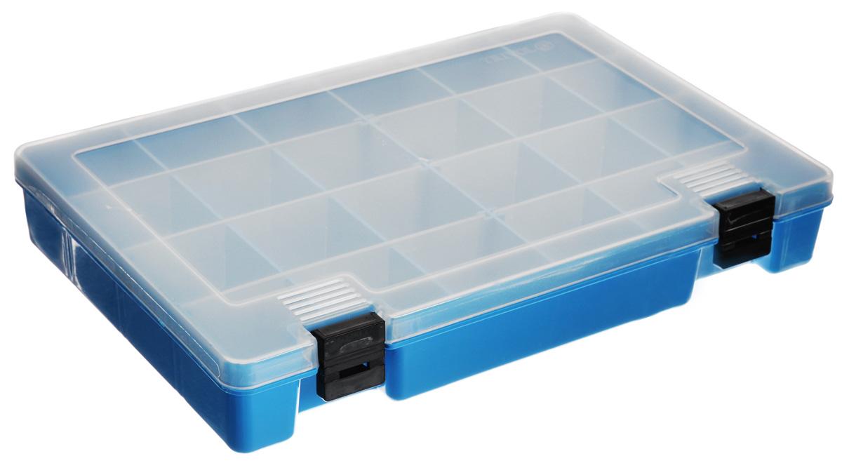 Коробка для мелочей Trivol, со съемными перегородками, цвет: голубой, 27 х 18 х 4 смтип-7_голубойКоробка Trivol, выполненная из прочного пластика, предназначена для хранения различных мелких вещей. Количество отделений можно изменять благодаря съемным перегородкам. Такая коробка закрывается при помощи прозрачной крышки, что поможет быстро определить содержимое. Коробка поможет хранить все в одном месте, а также защитить вещи от пыли, грязи и влаги. Идеально подходит для рыболовных снастей и аксессуаров для шитья.
