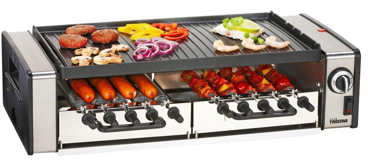Tristar RA-2993 гриль-шашлычницаRA-2993Гриль-шашлычница Tristar RA-2993 предназначена для больших компаний. Компактные размеры прибора позволяют разместить его даже на небольшой кухне, а рассчитан он на приготовления блюд на гриле на 10 человек. Для приготовления вкусного мяса предусмотрена специальная запатентованная шампурная система, а также система вращения. Вы можете одновременного готовить мясо, рыбу и овощи. В набор также входят лоток для жира и руководство пользователя. Готовка на 10 персонДвусторонняя гладкая/ребристая пластина гриляПластина для гриля из литого под давлением алюминияСъемные пластиныАнтипригарное покрытиеРегулируемый термостатСистема стока жираНескользящие ножки2 съемных поддона