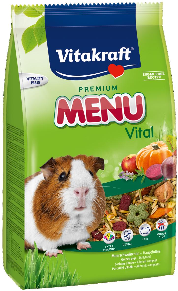 Корм для морских свинок Vitakraft Menu Vital, 400 г10646Основной корм для морских свинок Vitakraft Menu Vital. В состав входят натуральные ингредиенты, такие как злаки, растительные субпродукты, семена, растительный белок, овощи, хлебные субпродукты, а также необходимые для поддержания жизнеспособности минералы и витамины. Обогащён витамином С, укрепляющим иммунитет. Рекомендуется использовать вместе с крекерами и подкормками. Состав: белок - 11,9%, жиры - 3,3%, клетчатка - 6,7%, зола - 3,1%, влажность - 9,7%.Витамины/кг.: витамин А - 8000 ME, витамин D3 - 800 ME, витамин Е - 24 мг, витамин С - 300 мг, витамин В1 - 4,8 мг, витамин В2 - 4,8 мг, витамин В6 - 1,2 мкг, биотин - 80 мкг.Товар сертифицирован.