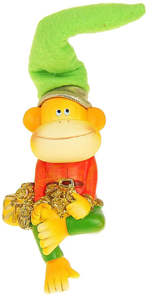 Сувенир Sima-land Обезьянка в колпаке с подарком и монетами, высота 16 см