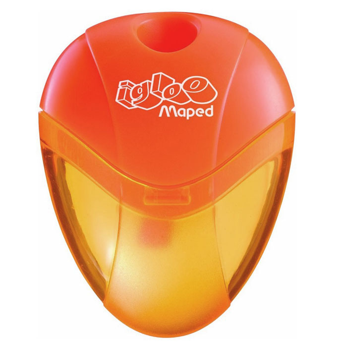 Maped Точилка Igloo цвет оранжевый634754Точилка Igloo выполнена из ударопрочного пластика. Полупрозрачный контейнер для сбора стружки позволяет визуально контролировать уровень заполнения и вовремя производить очистку. Характеристики:Размер: 5,5 см x 4 см x 1,5 см. Материал: пластик, металл. Изготовитель: Китай.