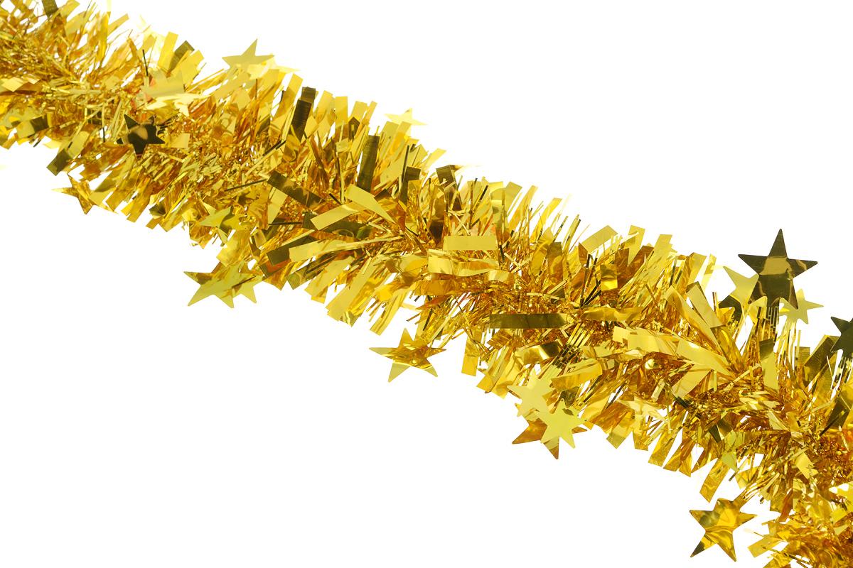 Мишура новогодняя Sima-land, цвет: золотистый, диаметр 9 см, длина 200 см. 706595706595_золотистыйНовогодняя мишура Sima-land, выполненная из фольги с дизайном в виде звездочек, поможет вам украсить свой дом к предстоящим праздникам. А новогодняя елка с таким украшением станет еще наряднее. Мишура армирована, то есть имеет проволоку внутри и способна сохранять приданную ей форму. Новогодней мишурой можно украсить все, что угодно - елку, квартиру, дачу, офис - как внутри, так и снаружи. Можно сложить новогодние поздравления, буквы и цифры, мишурой можно украсить и дополнить гирлянды, можно выделить дверные колонны, оплести дверные проемы. Коллекция декоративных украшений из серии Зимнее волшебство принесет в ваш дом ни с чем несравнимое ощущение праздника! Создайте в своем доме атмосферу тепла, веселья и радости, украшая его всей семьей.