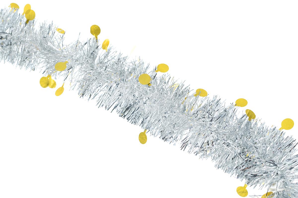 """Новогодняя мишура """"Sima-land"""", выполненная из фольги с дизайном в виде кружочков, поможет вам украсить свой дом к предстоящим праздникам. А новогодняя елка с таким украшением станет еще наряднее. Мишура армирована, то есть имеет проволоку внутри и способна сохранять приданную ей форму.  Новогодней мишурой можно украсить все, что угодно - елку, квартиру, дачу, офис - как внутри, так и снаружи. Можно сложить новогодние поздравления, буквы и цифры, мишурой можно украсить и дополнить гирлянды, можно выделить дверные колонны, оплести дверные проемы.  Коллекция декоративных украшений из серии """"Зимнее волшебство"""" принесет в ваш дом ни с чем несравнимое ощущение праздника! Создайте в своем доме атмосферу тепла, веселья и радости, украшая его всей семьей."""