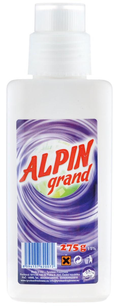 Пятновыводитель Alpin Grand, 275 гАB0270PGDЖидкий пятновыводитель Alpin Grand предназначен для удаления пятен от крови, красного вина, сока, жира, белковых компонентов и других веществ, практически со всех видов тканей. Не оставляет характерной белизны. После применения смывается полосканием в воде, либо стирается в машине. Не содержит хлора, безопасен для тканей.Состав: менее 5% энзимы, анионныеи неанионные тэнзиды, моноприполенгликол, содийный цитрат не более 15%.Товар сертифицирован.