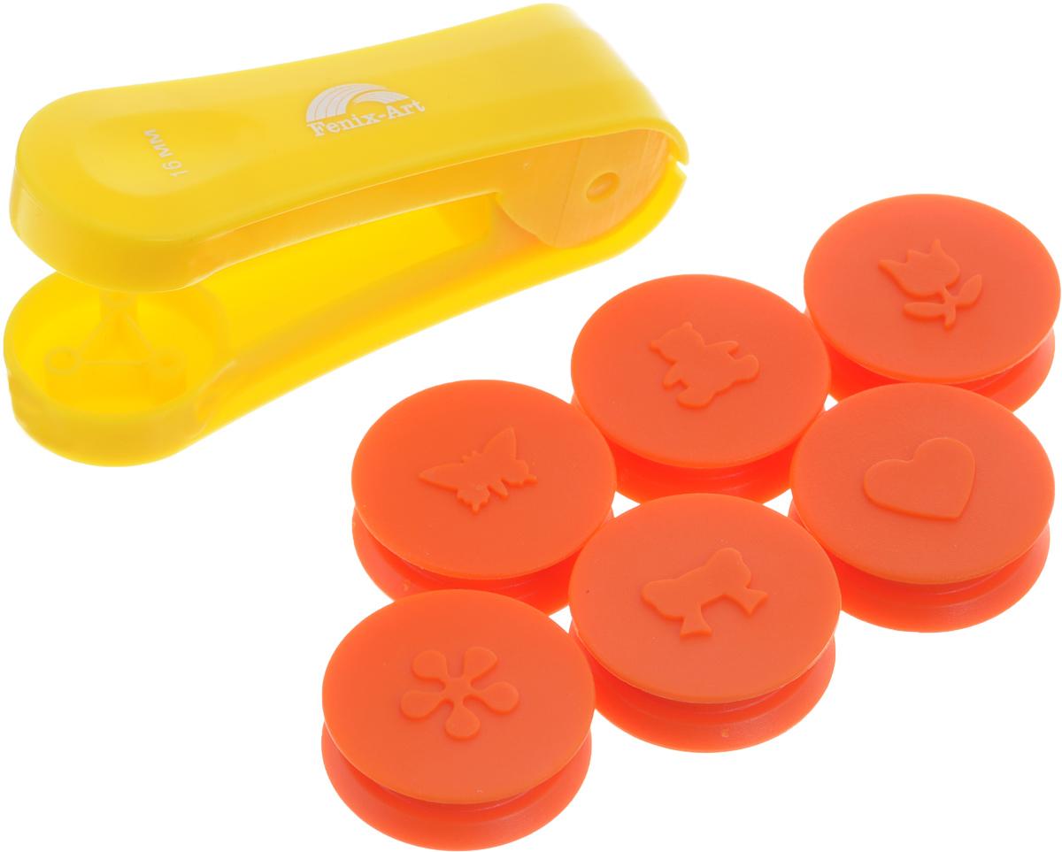 Набор панч-дыроколов Феникс+, цвет: желтый, оранжевый, 7 предметов. 3721237212Набор Феникс+ состоит из панч-дырокола и 6 насадок для тиснения, выполненных из пластика.Изделия помогут создать рельефные рисунки на бумаге или украсить подарочные открытки,конверты, этикетки, закладки и многие другие изделия. Насадки имеют форму в виде банта, тюльпана, бабочки, медвежонка, сердца и цветка. Такой набор прекрасно подойдет для детского творчества и художественно-оформительскихработ.Размер дырокола: 9,5 см х 2,6 см х 5,7 см. Диаметр насадки: 3,5 см. Размер готовой фигурки: 1,6 см.